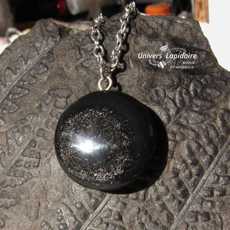 collier obsidienne dorée
