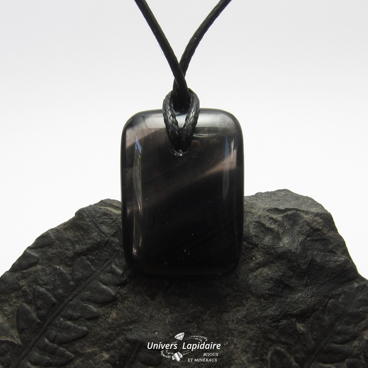 collier obsidienne fumée