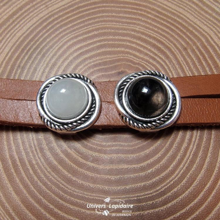 bracelet quartz et obsidienne
