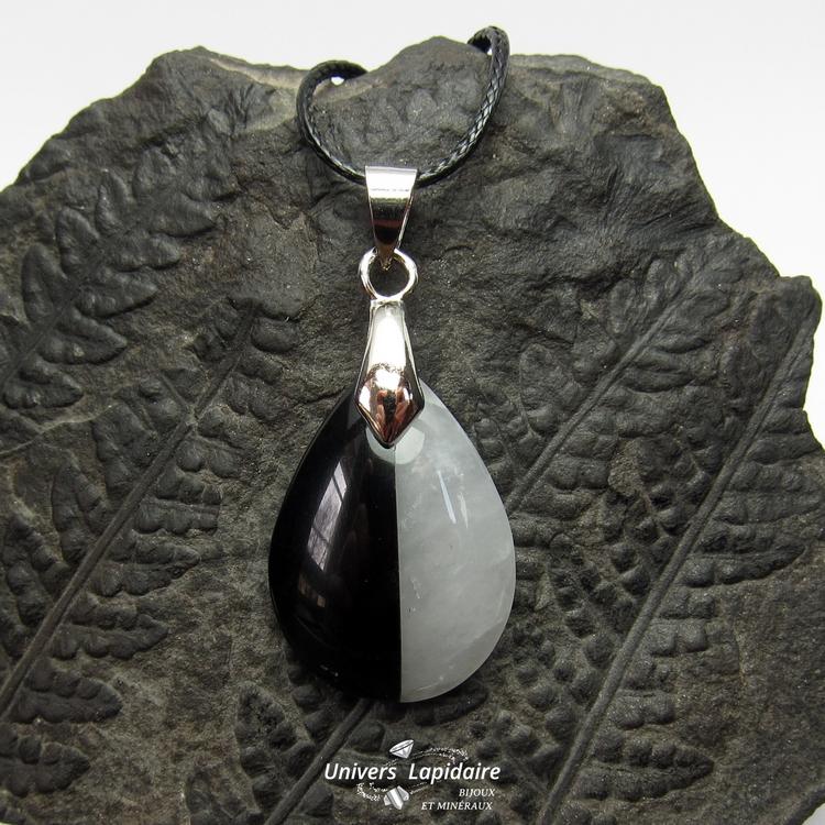 collier quartz blanc et obsidienne noire