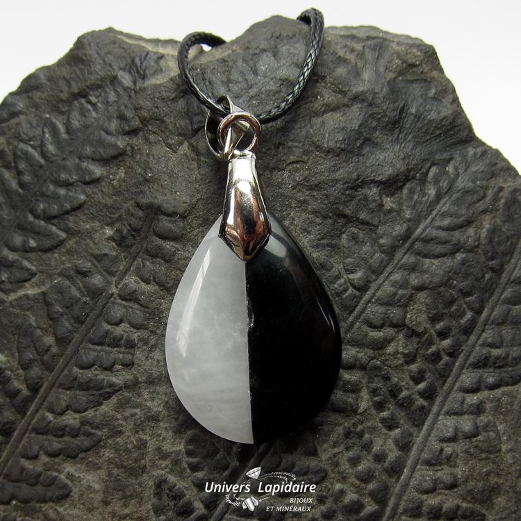 ollier quartz blanc et obsidienne noire
